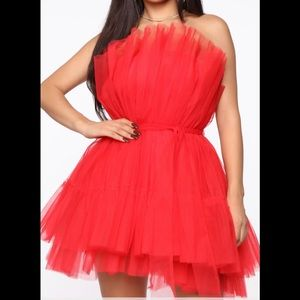 Red Tulle Mini Dress